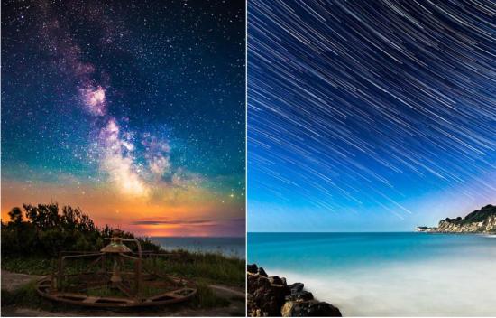 左图为一主题公园的夜空,右图由120张图片合成,用于表现2014年6月24日的某一个小时内恒星的运动轨迹。来源:中国网