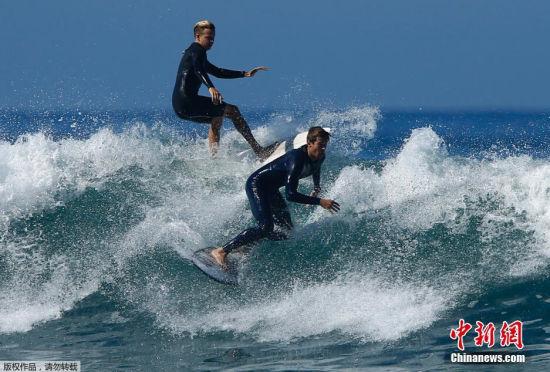 当地时间2014年8月27日,美国加州受到飓风Marie的影响,当地的海浪变大,不少冲浪爱好者找准时机乘着大浪感受到了非同一般的刺激。
