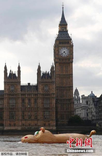 """当地时间2014年9月2日,英国伦敦,大黄鸭之父Florentijn Hofman另一作品巨型河马 """"HippopoThames""""在泰晤士河""""游泳""""展出。"""