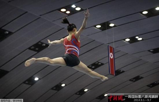 9月2日,朝鲜平壤,一周之后,朝鲜将派出最优秀的运动员参加在韩国举办的仁川亚运会。图为朝鲜运动员一丝不苟进行训练,全力备战仁川亚运会。