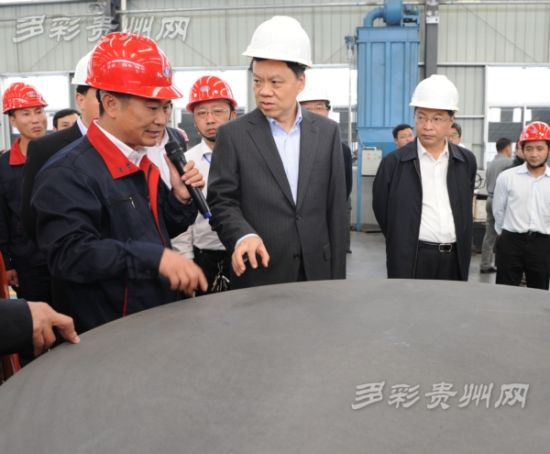 图为:省长陈敏尔率领观摩代表考察观摩福泉市兰鑫石墨项目。