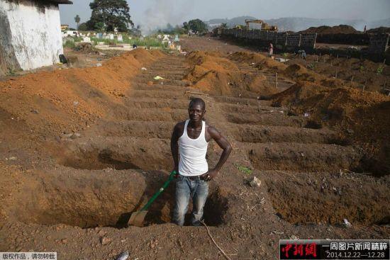 当地时间12月22日,塞拉利昂弗里敦的一名挖墓工人正在挖掘新的公墓,将有40名埃博拉感染者的尸体埋葬在这里。据悉,塞拉利昂感染埃博拉人数急剧上升,在世界上确诊的18603名埃博拉感染者中,塞拉利昂的患者占超过一半。