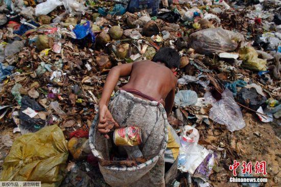图为13岁的男孩Seu在垃圾场工作,每天挣25美分,他正在垃圾堆中捡易拉罐。