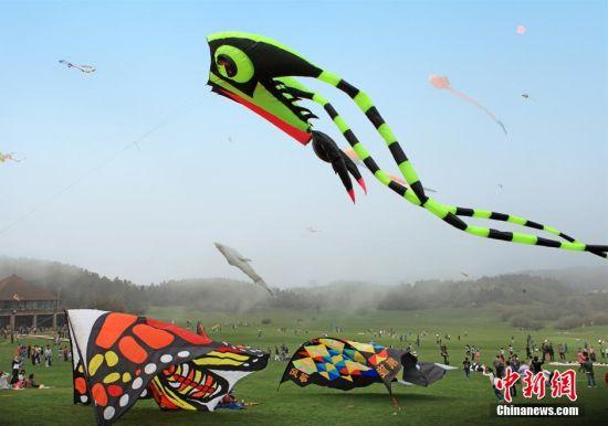 图为国际风筝节开幕,巨型风筝飞上天空。周毅 摄
