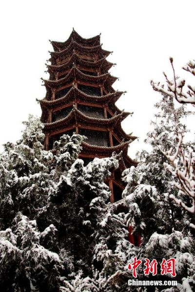 4月4日清晨,一场突如其来的大雪悄然降落甘肃戈壁古城张掖大地,使阳春四月的张掖呈现出雪漫枝头,银装素裹的美景。赵琳 摄