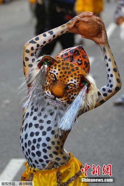 印度举行民间艺术节 身体彩绘老虎表演舞蹈--贵