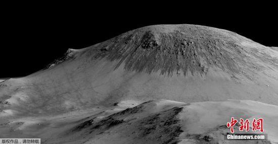 """火星山丘上的""""季节性斜坡纹线""""是火星表面有液态水的有力证据。"""