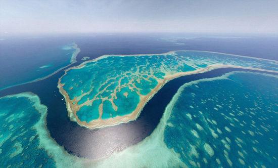 澳大利亚的大堡礁在无人机的视角下美的令人窒息。 图片来源:环球网