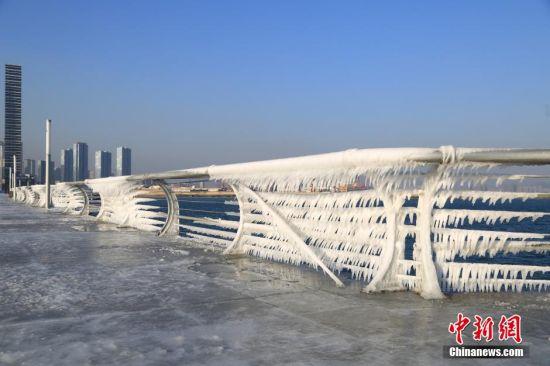 2015年12月28日,辽宁省大连市,由于受前一日的海上阵风和冷空气影响,海浪拍打着沿海护栏,形成了难得一见的冰挂自然景观。 图片来源:视觉中国