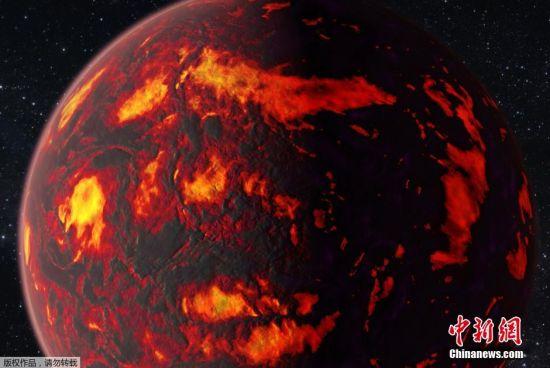根据从NASA斯皮策红外望远镜的对该行星两年期观测数据显示,两年中该行星温度变化幅度就达3倍 之多,表面温度从1000摄氏度变为2700摄氏度,变化相当之快。(图为艺术家创作的概念图)