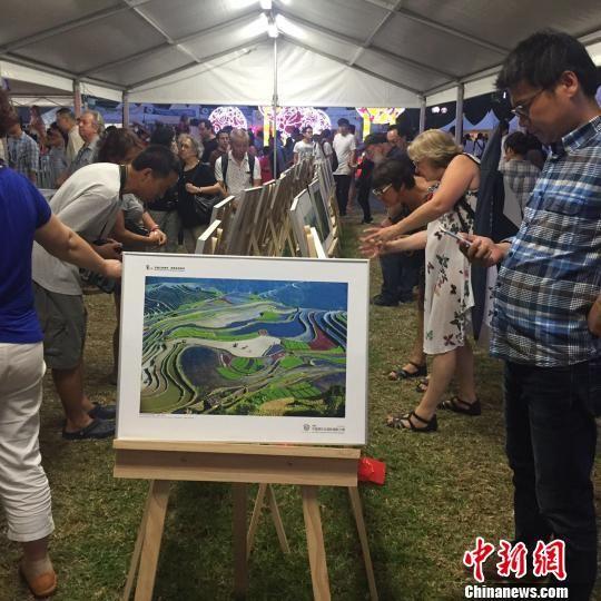 原生态摄影展亮相悉尼,游客仔细浏览展出图片。 卢媛 摄