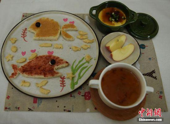 """王婧为女儿制作的""""海洋世界""""营养早餐。 受访者供图"""