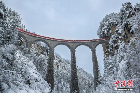 3月15日消息,瑞士,一列红色的火车冒雪从朗德瓦萨高架桥上驶过,仿佛童话里的场景。这座高架桥高65米,长136米,建造于1901-1902年间,如今仍在使用,是世界遗产地雷蒂亚铁路及沿线风景中的标志性建筑。图片来源:视觉中国