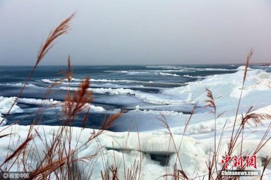 """由于博斯腾湖气候的变化,""""推冰""""奇观寿命最长四个月,最短的一天或几个小时就会消失。每年这个时候,摄影爱好者和游客都会不约而同的,赶往博斯腾湖抢拍""""推冰""""奇景。 图片来源:视觉中国"""