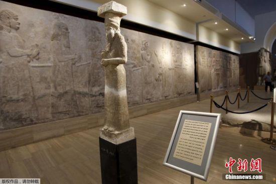 当地时间2016年4月4日,伊拉克巴格达,伊拉克国家博物馆展出来自摩苏尔的亚述人文物。