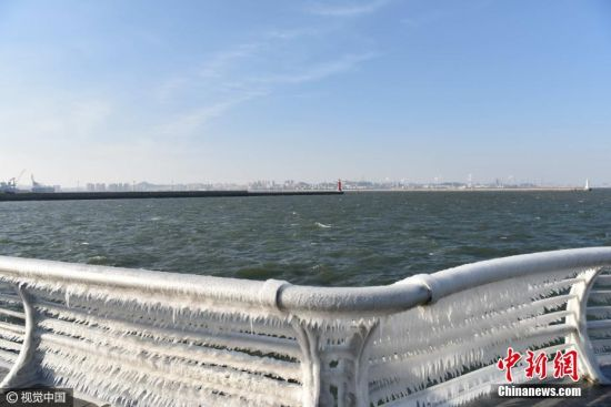 辽宁大连气温骤降 海边护栏挂满冰凌