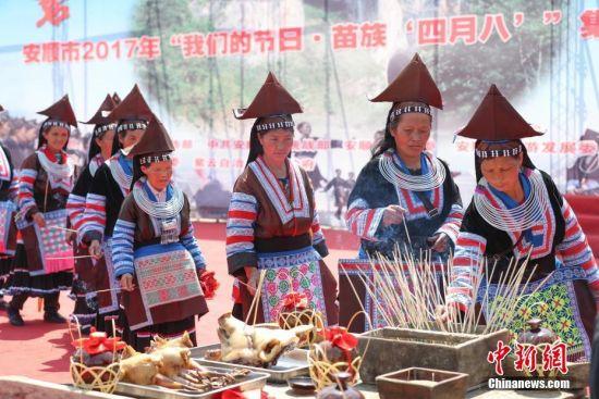 """""""四月八""""是苗族同胞最隆重的传统节日之一,在紫云和贵州苗族西部方言区又称""""亚鲁节""""。中新社记者 贺俊怡 摄"""