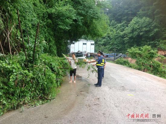 图为贵阳局职工清理倒压行道树。