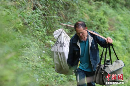 """4月12日,张林昌挑着担子走在大山中。张林昌是贵州省锦屏县邮政局启蒙支局乡村邮递员,他一人在莽莽群山之间送信已坚持了31年。31年里,靠着肩挑背扛,他累计将140多万件报刊信件送达深山的村民家中,步行里程已超过24万多公里。1987年,23岁的张林昌刚从部队退伍返乡就接过老邮员肩上的邮包干上了乡村邮递员工作,负责锦屏县河口乡片区的邮路。位于大山深处的邮路全长90余公里,串联着启蒙镇到河口乡一带2.5万余民众。这期间,他每年365天除了春节和偶尔有事请假,几乎从不缺席。按照规定,年近55岁的他可申请退休,但他却坚定地说""""只要我还能走,就会坚持给乡亲们送邮件!"""" 中新社发 瞿宏伦 摄"""