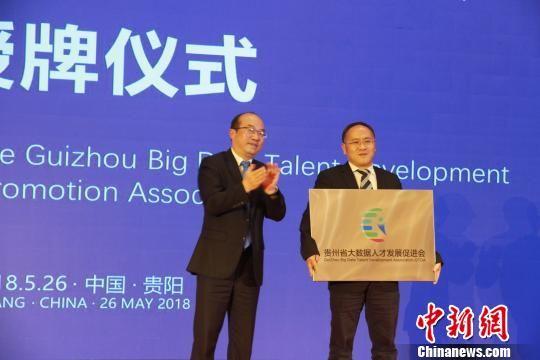 贵州省副省长吴强为大数据人才发展促进会授牌。 刘鹏 摄