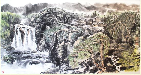陈石画作 黔山秀水图