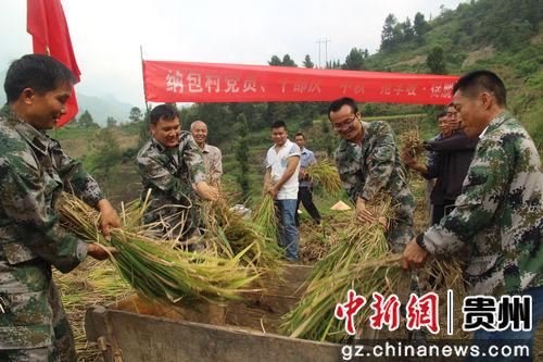 9月24日,贵州省望谟县新屯街道办纳包村党员在帮助无劳动力贫困农户收割水稻。