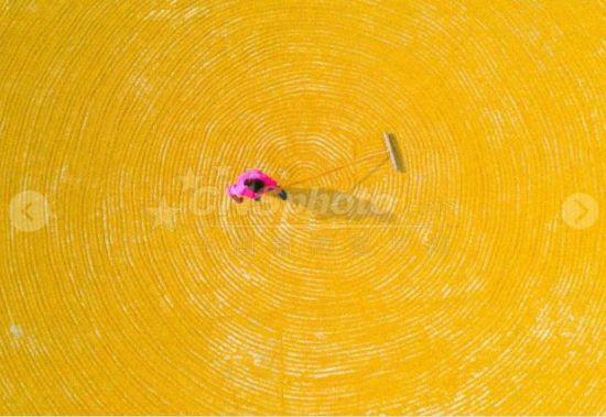 """9月的贵州进入收获季节。在贵州省铜仁市玉屏侗族自治县乡村,农户们利用晴好天气晾晒谷物,呈现出一幅幅赏心悦目的""""晒秋图""""。"""