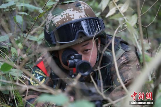 参训官兵进行山林捕歼训练。瞿宏伦 摄
