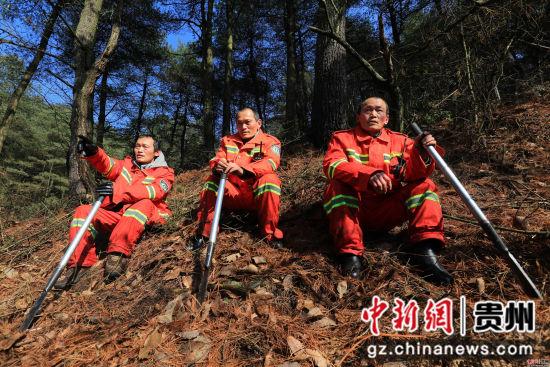 1月3日,张建(右)、张忠(中)、张华三兄弟在贵州省毕节市七星关区拱拢坪林场护林巡山时,在林间小憩。 王纯亮 摄
