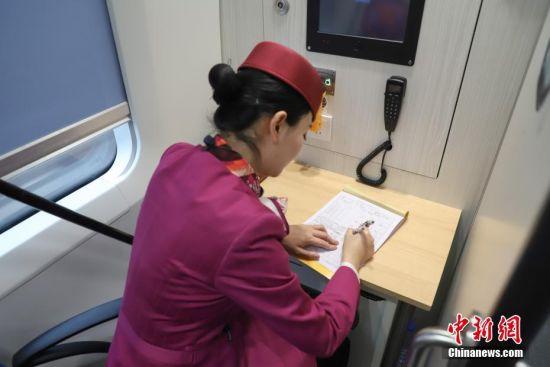 1月19日,伏玲在车厢办公室登记工作日志。今年27岁的伏玲,是中国铁路总公司成都局集团有限公司贵阳客运段动车二队列车长,她在铁路系统已经工作5年,是贵州首批动车乘务员,并于2016年取得动车列车长资质。伏玲主要有开车前的引导、巡视车厢、检查危险品等值乘工作。2019年春运临近,加开列车和旅客数量将增多,届时,她的工作量加大。她说,她已做好春运服务工作的准备,将用心服务好旅客,让旅客能够平平安安回家。中新社记者 瞿宏伦 摄