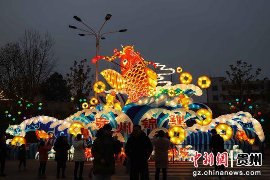 图为市民在观赏鱼跃龙门灯组。 瞿宏伦 摄