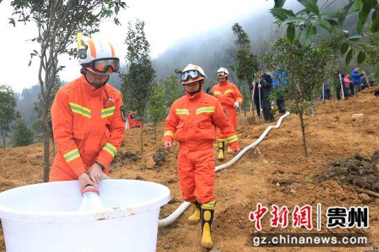 2月11日,消防官兵在贵州省毕节市在七星关区大新桥街道办事处殷官屯社区义务植树点准备浇树用水。