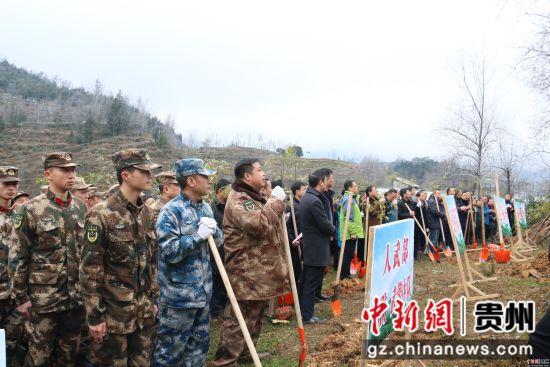 沿河县参与植树活动的干部群众。