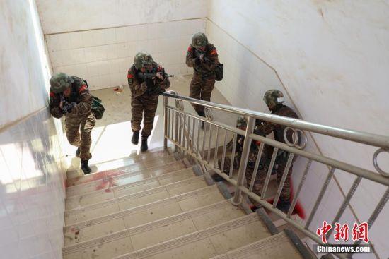 参训特战小组在进行楼房反劫持战斗训练。中新社记者 瞿宏伦 摄