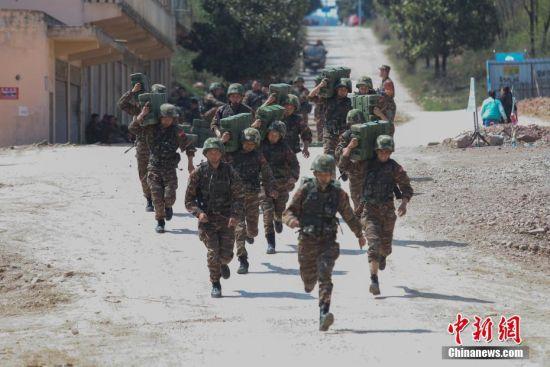 特战队员在进行搬运弹药箱训练。中新社记者 瞿宏伦 摄