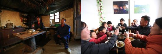恒大建成县城搬迁社区奢香古镇和50个新农村,已搬迁入住2万人。图为搬迁扶贫前后