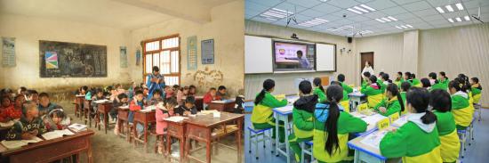 恒大建成并投入使用13所小学、11所幼儿园、1所完全中学、1所职业学院。图为教育扶贫前后