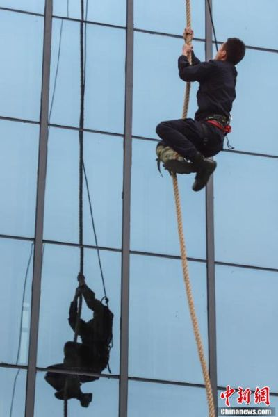 特警队员进行攀爬训练。(中新社记者 瞿宏伦 摄)