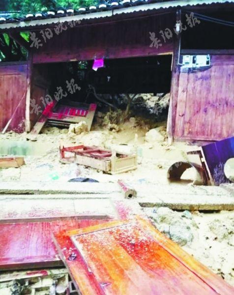 洪涝灾害致遵义市余庆县白泥镇房屋受损。