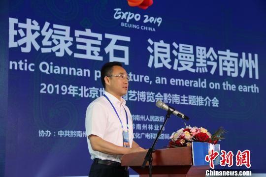 图为贵州省黔南州州委副书记罗桂荣作主题推介。 冷桂玉 摄