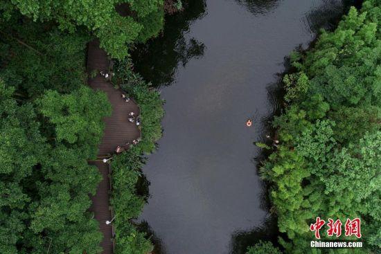"""7月2日,俯瞰贵阳市阿哈湖国家湿地公园,民众在河边游玩。贵阳市自2015年启动""""千园之城""""建设,计划将公园面积从2014年的6.8万亩增加至33万亩,人均公园绿地面积由10.95平方米提升到13平方米,截至2019年4月,贵阳市已建成城市公园、森林公园、山体公园、湿地公园、社区公园""""五位一体""""公园1025个,""""300米见绿、500米见园""""的目标正逐步实现。城中公园成为民众夏日乘凉游景好去处。中新社记者 贺俊怡 摄"""