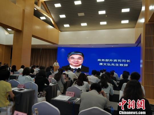 商务部外资司司长唐文弘致辞。张翼晶 摄