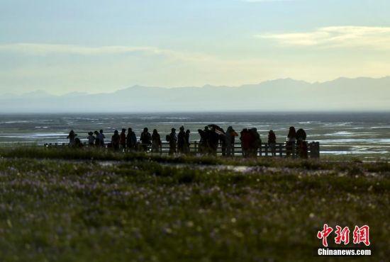 新疆巴音布鲁克:草原落日吸引游人