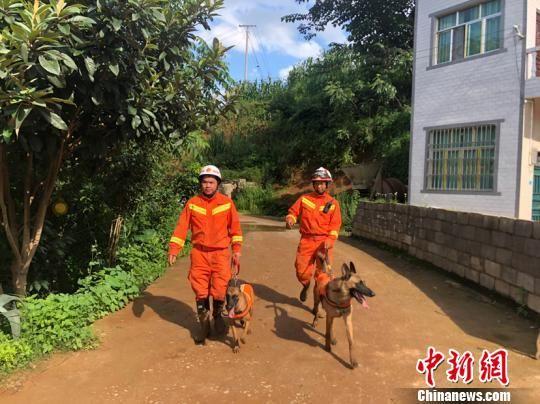 """图为尹礼辉(右一)与搜救犬""""小Q""""在贵州水城山体滑坡现场搜救。李杰 摄"""