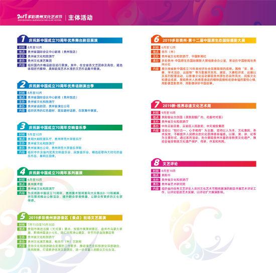 2019多彩贵州文化艺术节主体活动。
